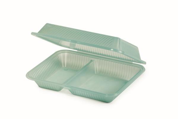 Eco-Takeout® Behälter mit 2 Fächern grün - 20,3 x 25,4 x 7,6