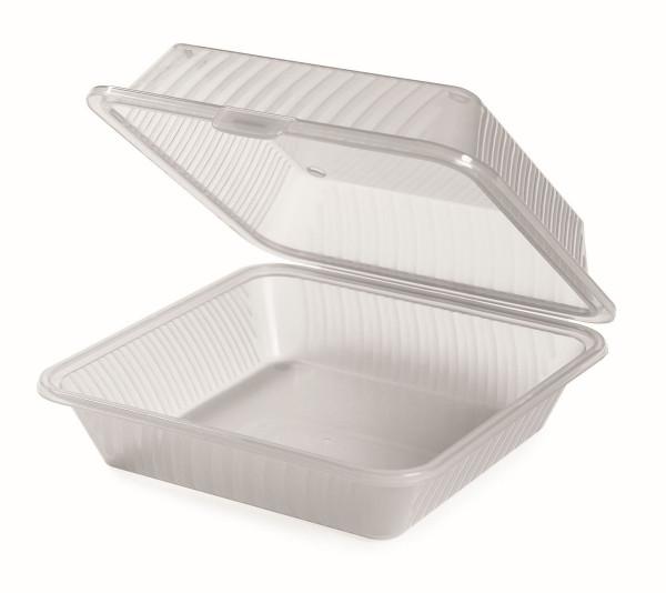 Eco-Takeout® Behälter für 1 Gericht durchsichtig - 23 x 23 x