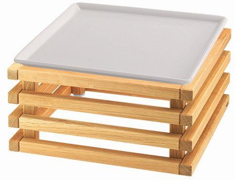 RAISER 'Frischeplatte 33x33' weiß L-Standfuß 'Oak'