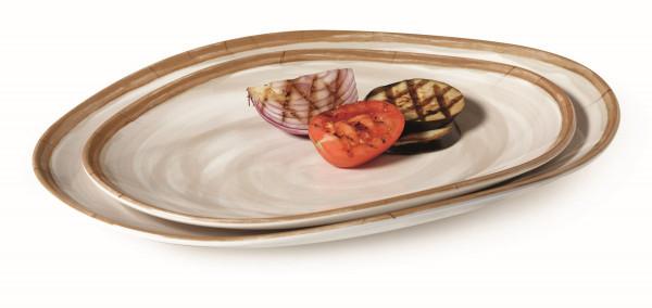 Melanin Tablett, oval geschwungen Osslo™ Pottery Cream - 38