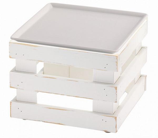 RAISER 'Frischeplatte 23x23' weiß L-Standfuß 'Vintage White'