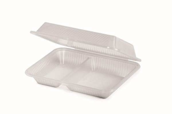 Eco-Takeout® Behälter mit 2 Fächern durchsichtig - 20,3 x