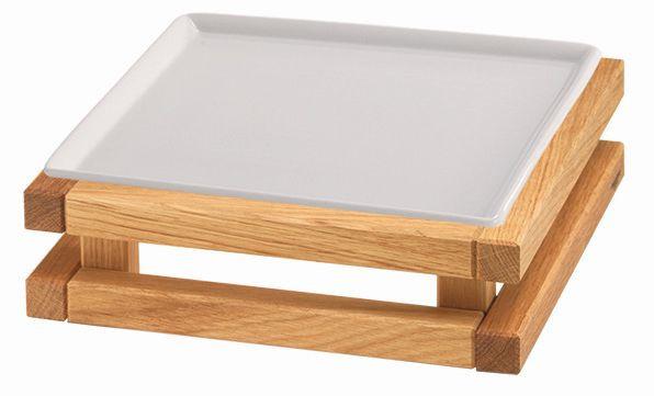 RAISER 'Frischeplatte 23x23' weiß S-Standfuß 'Oak'