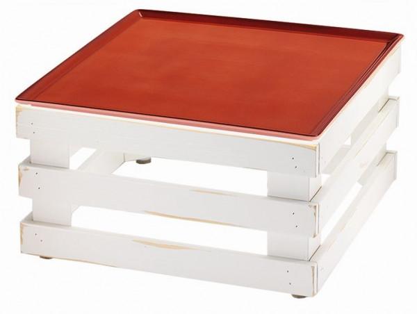 RAISER 'Frischeplatte '33x33' rot L-Standfuß 'Vintage White'