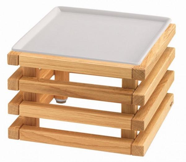 RAISER 'Frischeplatte 23x23' weiß L-Standfuß 'Oak'