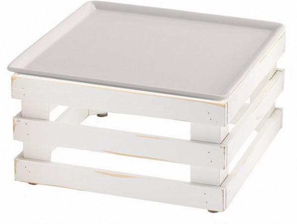 RAISER 'Frischeplatte 33x33' weiß L-Standfuß 'Vintage White'